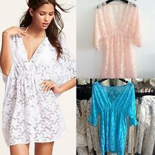 Sexy Bikini Cover Up Women Lace Floral Short Sleeve Swimwear Beach Dress 3 Color