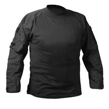 Black Action Shirt with Zippered Storage Pockets on Sleeves - Black