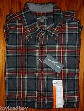 Eddie Bauer Mens Brushed Cotton Flannel Shirt Red & Gray Plaid ETN New With Tags