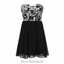 WOMENS LADIES STRAPLESS FLORAL SEQUIN SLEEVELESS KNEE LENGTH SKATER DRESS 8-14