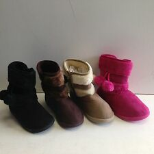 New Girls Winter Boots Faux Suede Warm Fur Lined Button Children Size C10 to 2