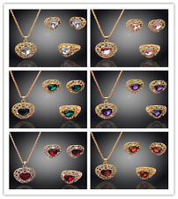 18k Gold Plated New Wedding Austrian Crystal Necklace Earring Ring Set