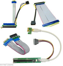 PCI Express. PCI-E USB riser card. 1x to 16x Extender with Molex and Capacitor.