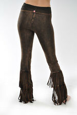 NWT T-Party Flare Yoga Pants DOUBLE FRINGE Brown Mineral Wash Fold over Stretch