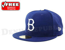 New Era 5950 BROOKLYN DODGERS GM Game MLB Baseball Cap Fitted Hat Dark Royal