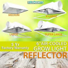 "6"" Air Cooled Grow Light Reflector Hood Hydroponic Indoor Glass Inline HPS MH"