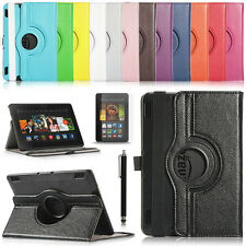 360 Rotating PU Leather Case Cover w Stand For 2013 Amazon Kindle Fire HDX 7""