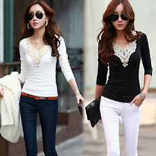 New Womens Ladies Long Sleeve Embroidery Lace Top Chiffon Shirt Blouse Size 6-14