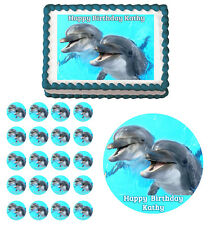 Smiling Dolphins Edible Birthday Cake Cupcake Toppers Party Decorations