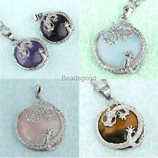 Natural Quartz Gemstone Dragon Wrap Half Ball Charms Bead Pendant For Necklace