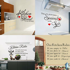DIY Kitchen Rules Black Wall Stickers Removable Art Vinyl Quote Decal Home Decor