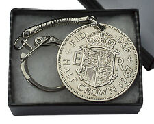 HALF CROWN COIN KEYRING CHOICE OF YEAR 1947 TO 1967 PERFECT BIRTHDAY PRESENT
