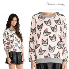 Womens Clothes Blouses Clothing T-shirt Casual Cat Printed Tops Cheap Fashion