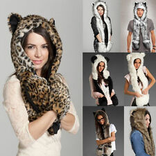 New Fashion Faux Fur Animal Hoodie with ears & paws Hat Pocket Spirit Scarf hat
