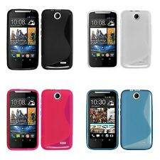 HTC DESIRE 310 S LINE SILICONE GEL COVER CASE AND SCREEN PROTECTOR