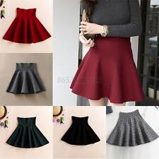 Winter Womens Pleated Mini Skirt Skater Sexy High Waist Stretch Short Skirt M