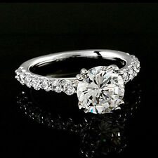 3.05 CT ROUND CUT DIAMOND ENGAGEMENT RING SOLID 14K WHITE GOLD