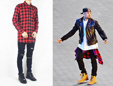 Plaid Shirt Checked Gold Zips Tyga Chris Brown Yeezus Trapstar ADYN Hood By Air