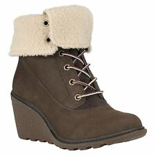 TIMBERLAND 8256A AMSTON ROLL TOP WOMEN'S BROWN WEDGE HEEL BOOTS