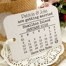 Personalized White Save the Date Tags for Rustic Wedding Calendar Design