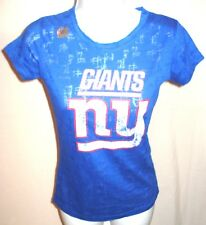 New York Giants Football NY Faded Short Sleeve Burnout Shirt Royal New
