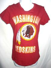 Washington Redskins Football Ladies Distressed Short Sleeve Shirt Burgundy New