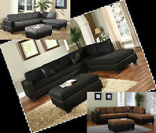 Microfiber Sectionals Black Grey sofa couch sectional - 4 Colors Living room set