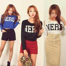 Hip-Hop Lady Letters Print Cropped Crop Tops Round Neck Blouse T-shirt New M11