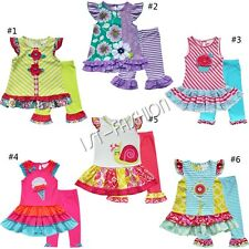 2Pc Kids Girl Dresses Floral Top Shirt Dress + Leggings Outfits Set 2T-8 Clothes