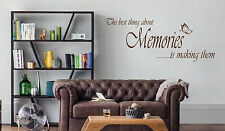 THE BEST THINGS ABOUT MEMORIES WALL ART/DECAL QUOTE STICKER KITCHEN/LIVING ROOM
