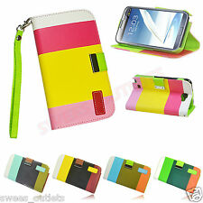 Hybrid Leather Wallet Flip Case Stand Cover For Samsung Galaxy Note II 2 N7100