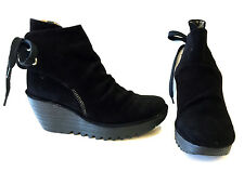 FLY LONDON YAMA BLACK SUEDE NUBUCK PLATFORM WEDGE ANKLE BOOT