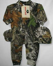 MOSSY OAK CAMOUFLAGE BABY SLEEPER, HAT, BOOTIES, INFANT CAMO CLOTHES, CREEPER