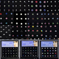 26 Styles Wholesale Mix Lots Nose Studs Piercing+Display Box Body Jewelry Gifts