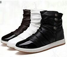 Fashion Korean Style Men's Lace Up Flats High-top Casual Shoes Ankle Boots