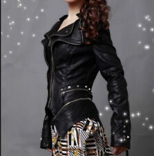 Womens Biker SHort Slim Rock Punk PU Leather Studded Motorcycle Coat Jacket