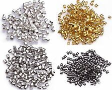 1000pcs Wholesale Silver/Gold/Black/Bronze Plated Tube Crimp End Beads 2mm NEW