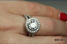 3.46 CT STERLING SILVER STYLE ROUND HALO CZ ENGAGEMENT WEDDING RING SET WRS18-BS