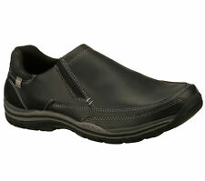 64117 BBK Black Skechers Shoes Men Memory Foam Relaxed Fit Slip On LoaferComfort