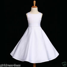 WHITE FIRST COMMUNION A-LINE FLOWER GIRL DRESS 12M 18M 2 3/4 5/6 7/8 10 12 14 16