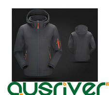 Premium Men Outdoor Climbing Sports Hooded Soft Shell Cycling Jacket Coat Gray