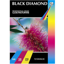 BLACK DIAMOND HEAVY WEIGHT PREMIUM A4 GLOSS COATED PHOTO PAPER 50 SHEETS 210GSM