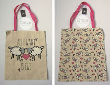 """PRIMARK LOVE """"All I Want is EWE"""" Sheep Canvas Tote Shopping Bag VALENTINES"""