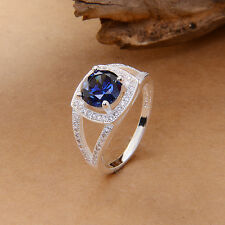 Rhombus sapphire blue & Topaz Elegant S925 Sterling Silver Lovers Wedding Ring