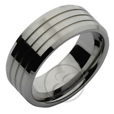 Heavy Weight Tungsten Ring High Polished Multi Grooved Wedding Band 9mm