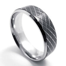 Black Silver Tone Stainless Steel Net Ring Wedding Band Jewelry Valentine's Gift