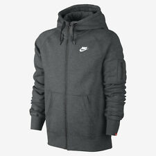 (598759-071) MEN'S NIKE AW77 FLEECE FULL ZIP HOODIE CHARCOAL HEATHER/WHITE