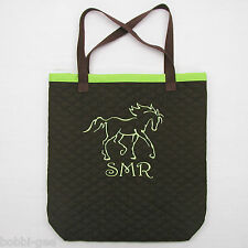CUSTOM EMBROIDERED QUILTED MARKET TOTE BAG WITH HORSE LOGO by BobbiGee's