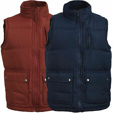 Mens Gilet Heavy Padded Lined Quilted Sleeveless Coat Body warmer Vest Jacket