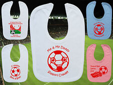 CRAWLEY TOWN Football Baby Bib-White/Blue/Pink-Personalised Gift-Boy/Girl-Cotton